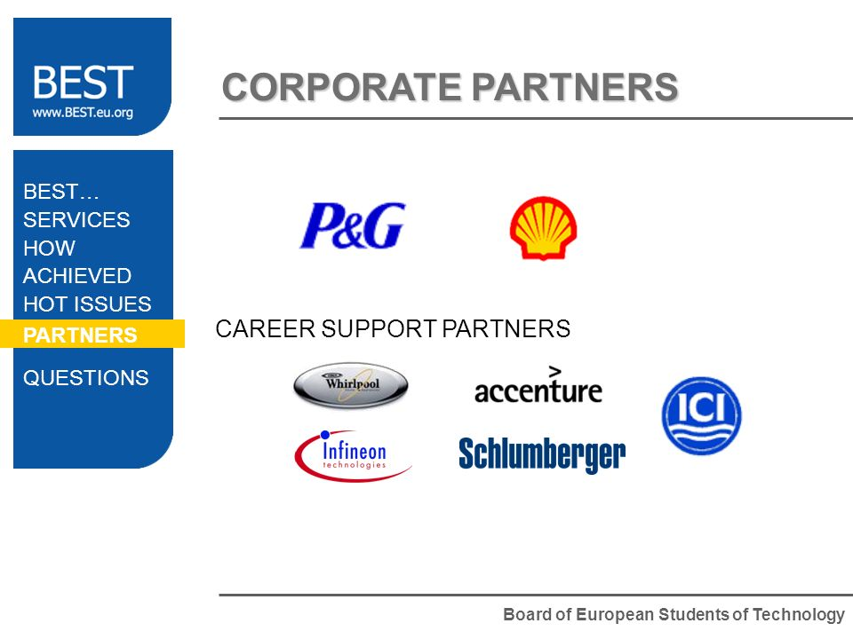 Board of European Students of Technology CORPORATE PARTNERS CAREER SUPPORT PARTNERS BEST… SERVICES HOW ACHIEVED HOT ISSUES PARTNERS QUESTIONS
