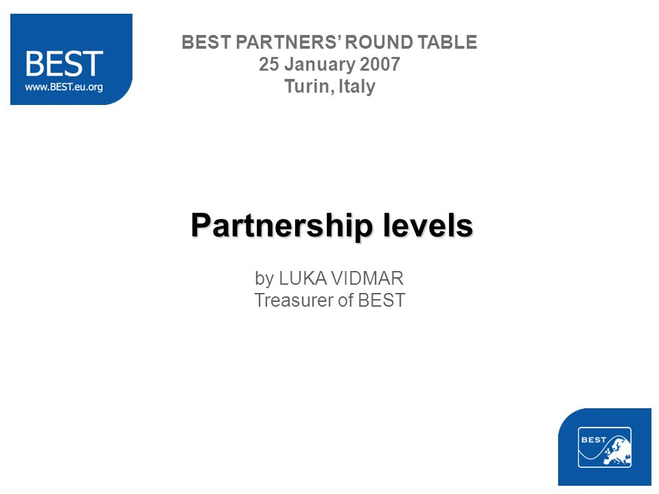 Partnership levels by LUKA VIDMAR Treasurer of BEST BEST PARTNERS ROUND TABLE 25 January 2007 Turin, Italy