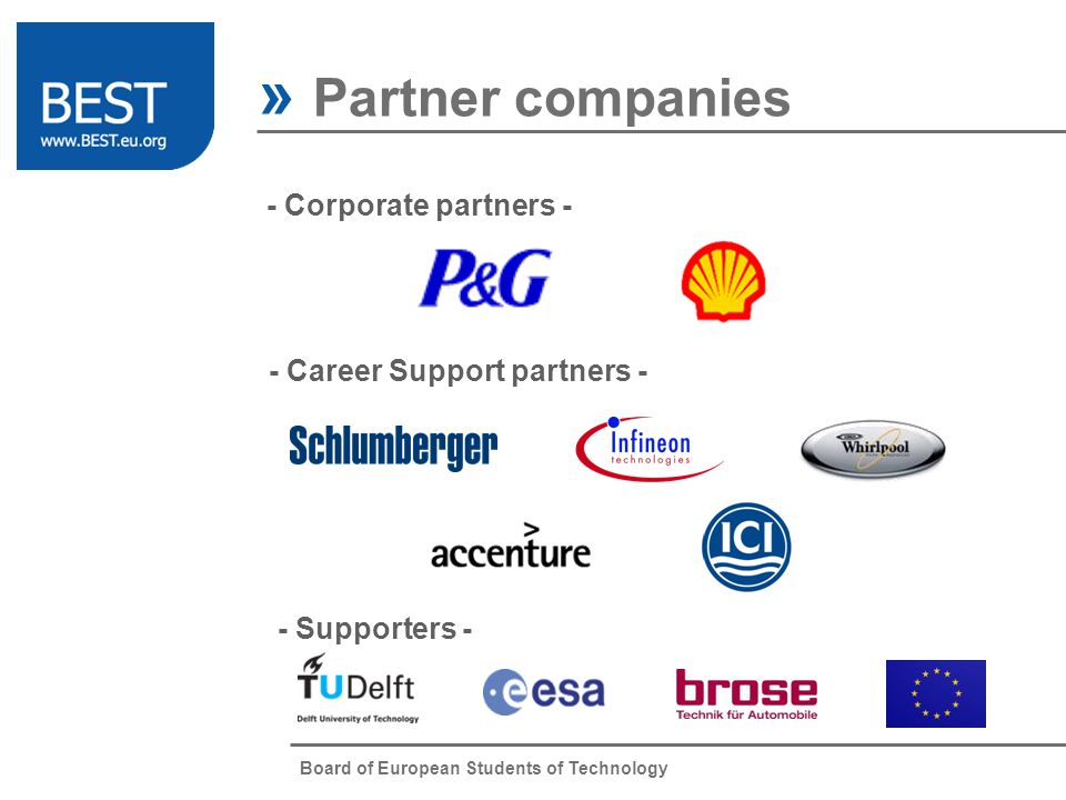 Board of European Students of Technology » Partner companies - Corporate partners - - Career Support partners - - Supporters -