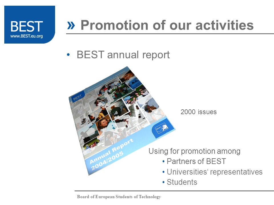 Board of European Students of Technology » Promotion of our activities BEST annual report 2000 issues Using for promotion among Partners of BEST Unive
