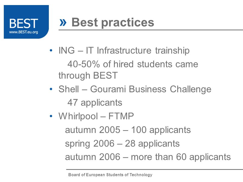 Board of European Students of Technology ING – IT Infrastructure trainship 40-50% of hired students came through BEST Shell – Gourami Business Challen