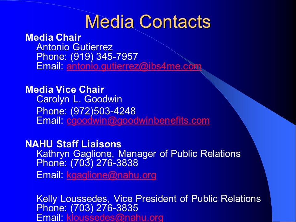 Media Contacts Media Chair Antonio Gutierrez Phone: (919) Media Vice Chair Carolyn L.