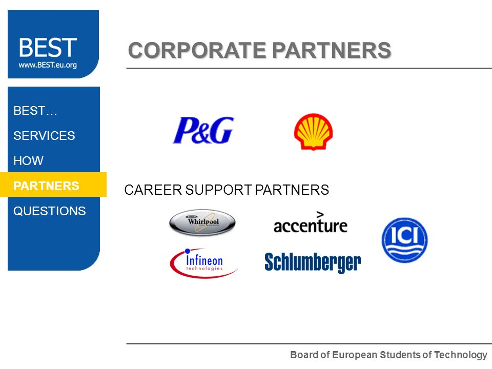 Board of European Students of Technology CORPORATE PARTNERS BEST… SERVICES HOW PARTNERS QUESTIONS CAREER SUPPORT PARTNERS