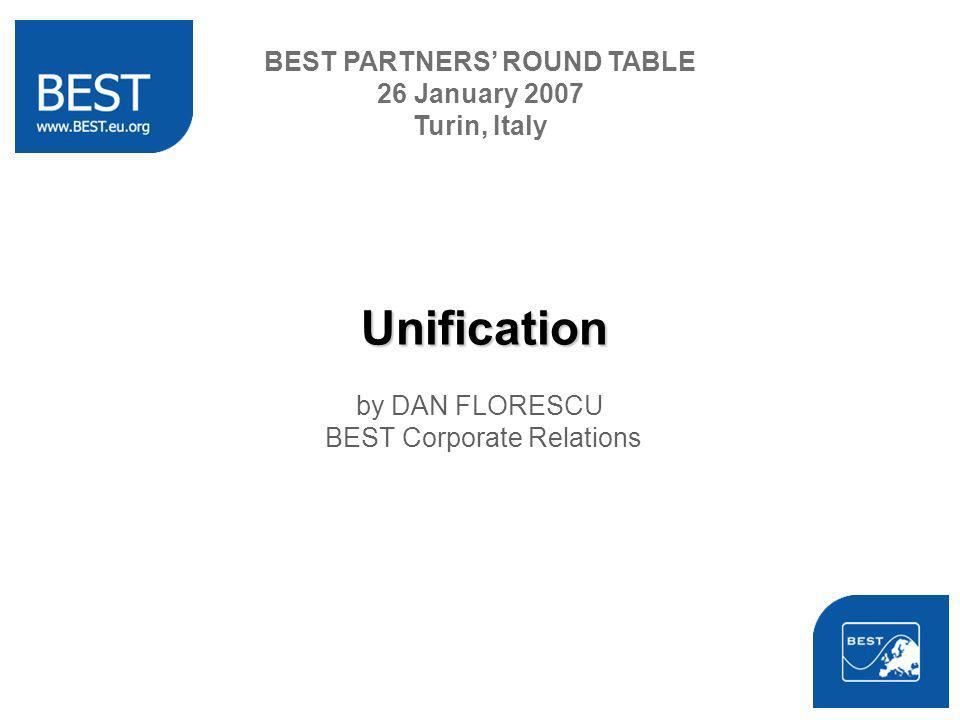Unification by DAN FLORESCU BEST Corporate Relations BEST PARTNERS ROUND TABLE 26 January 2007 Turin, Italy