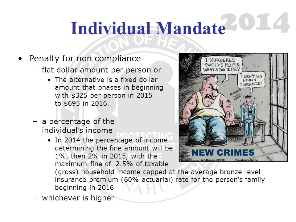 2014 Individual Mandate Penalty for non compliance –flat dollar amount per person or The alternative is a fixed dollar amount that phases in beginning with $325 per person in 2015 to $695 in 2016.