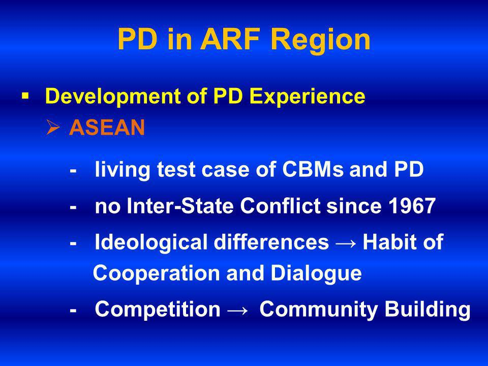PD in ARF Region (cont.) - Continuous exploration of PD - ASEAN Hotline - ASEAN Troika - ARF Establishment and Evolution Treaty of Amity and Cooperation (TAC) Declaration on the Conduct of Parties in the South China Sea (DOC)
