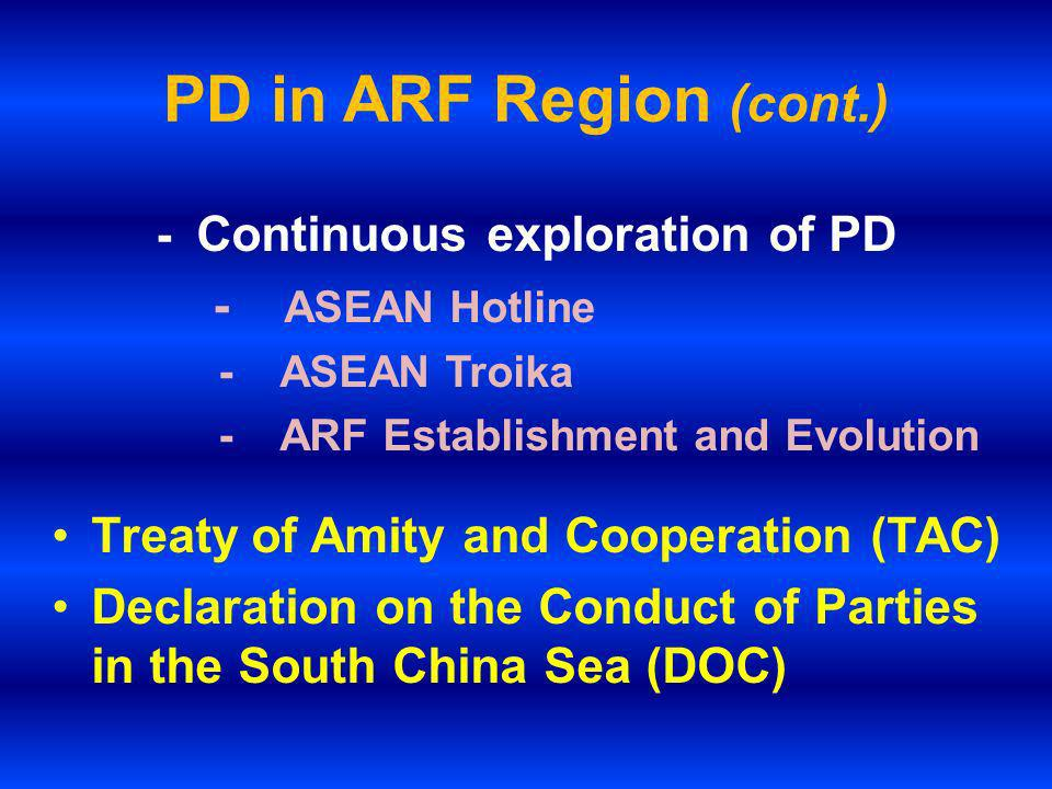 PD in ARF Region (cont.) - Continuous exploration of PD - ASEAN Hotline - ASEAN Troika - ARF Establishment and Evolution Treaty of Amity and Cooperati