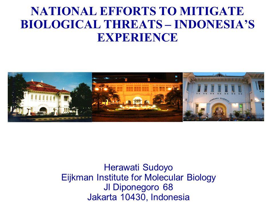 NATIONAL EFFORTS TO MITIGATE BIOLOGICAL THREATS – INDONESIAS EXPERIENCE Herawati Sudoyo Eijkman Institute for Molecular Biology Jl Diponegoro 68 Jakar