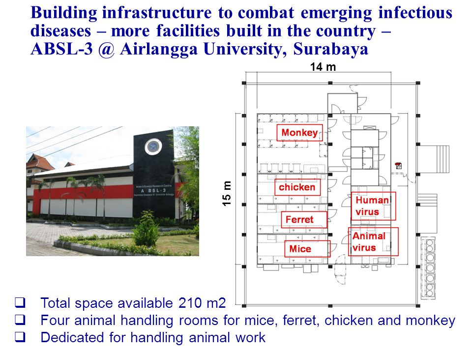 Building infrastructure to combat emerging infectious diseases – more facilities built in the country – ABSL-3 @ Airlangga University, Surabaya Total