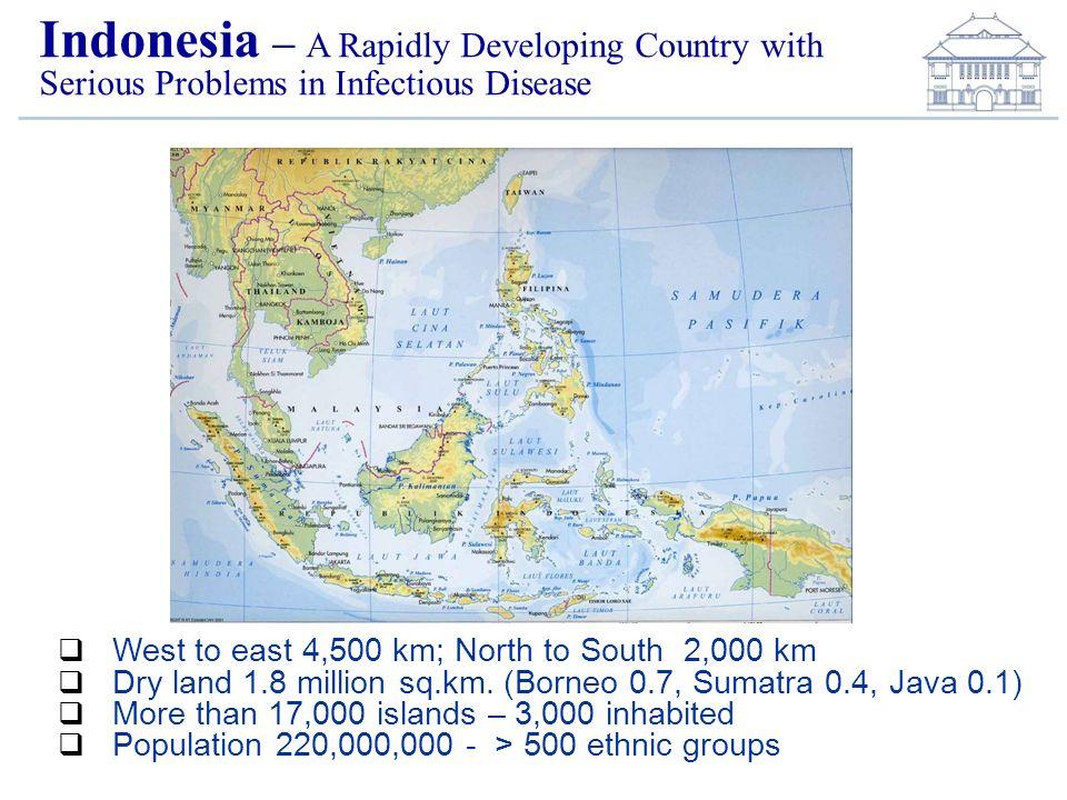 West to east 4,500 km; North to South 2,000 km Dry land 1.8 million sq.km. (Borneo 0.7, Sumatra 0.4, Java 0.1) More than 17,000 islands – 3,000 inhabi