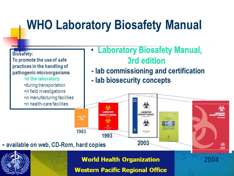 Combating Communicable Diseases (DCC) WHO Regional Office for the Western Pacific (WPRO) World Health Organization Western Pacific Regional Office Laboratory Biosafety Manual, 3rd edition - lab commissioning and certification - lab biosecurity concepts Biosafety: To promote the use of safe practices in the handling of pathogenic microorganisms in the laboratory during transportation in field investigations in manufacturing facilities in health-care facilities Laboratory Biosafe ty Manual 1 st edition 1983 1993 2003 2004 WHO Laboratory Biosafety Manual - available on web, CD-Rom, hard copies