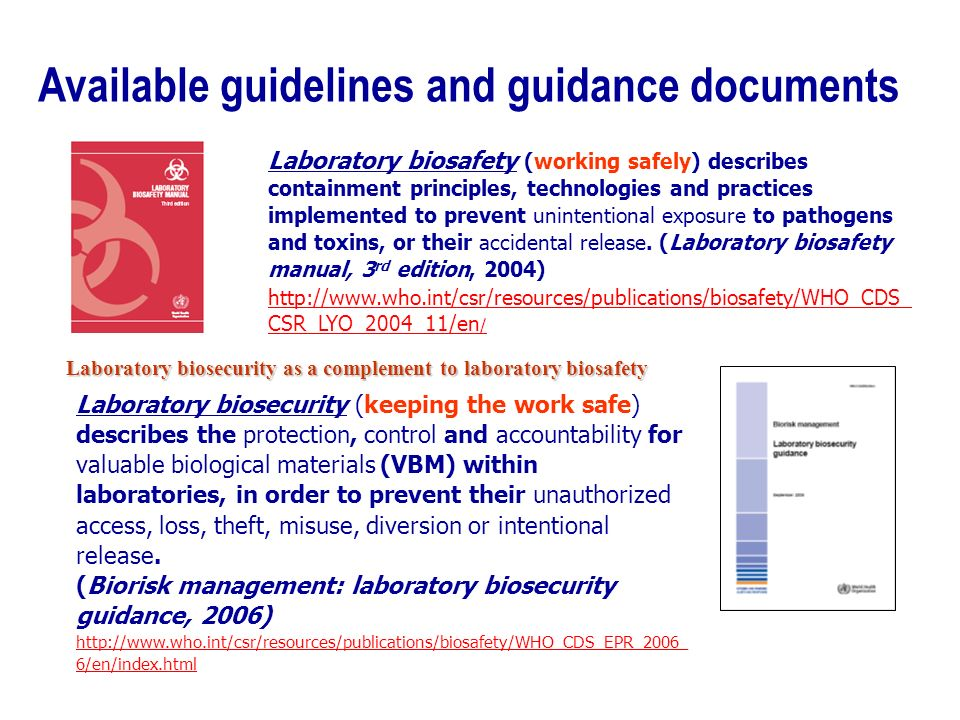 Laboratory biosafety (working safely) describes containment principles, technologies and practices implemented to prevent unintentional exposure to pathogens and toxins, or their accidental release.