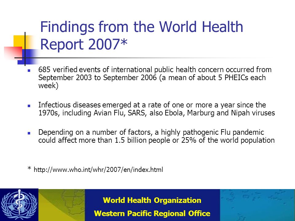 Combating Communicable Diseases (DCC) WHO Regional Office for the Western Pacific (WPRO) World Health Organization Western Pacific Regional Office Laboratory Acquired Infections Historically: only 20% from recognised accidents 80% unknown, i.e.