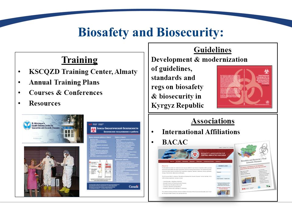 Biosafety and Biosecurity: Training KSCQZD Training Center, Almaty Annual Training Plans Courses & Conferences Resources Guidelines Development & modernization of guidelines, standards and regs on biosafety & biosecurity in Kyrgyz Republic Associations International Affiliations BACAC