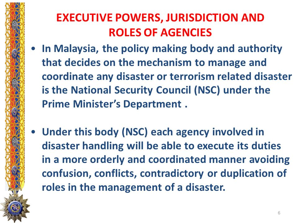 The National Security Council Directive No 18: - Definition which include the use of lethal weapons, explosives, hazardous material or weapon of mass destruction i.e.