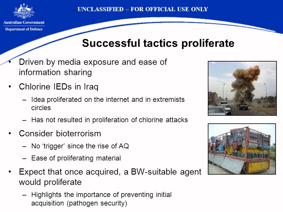 Successful tactics proliferate Driven by media exposure and ease of information sharing Chlorine IEDs in Iraq –Idea proliferated on the internet and in extremists circles –Has not resulted in proliferation of chlorine attacks Consider bioterrorism –No trigger since the rise of AQ –Ease of proliferating material Expect that once acquired, a BW-suitable agent would proliferate –Highlights the importance of preventing initial acquisition (pathogen security) UNCLASSIFIED – FOR OFFICIAL USE ONLY