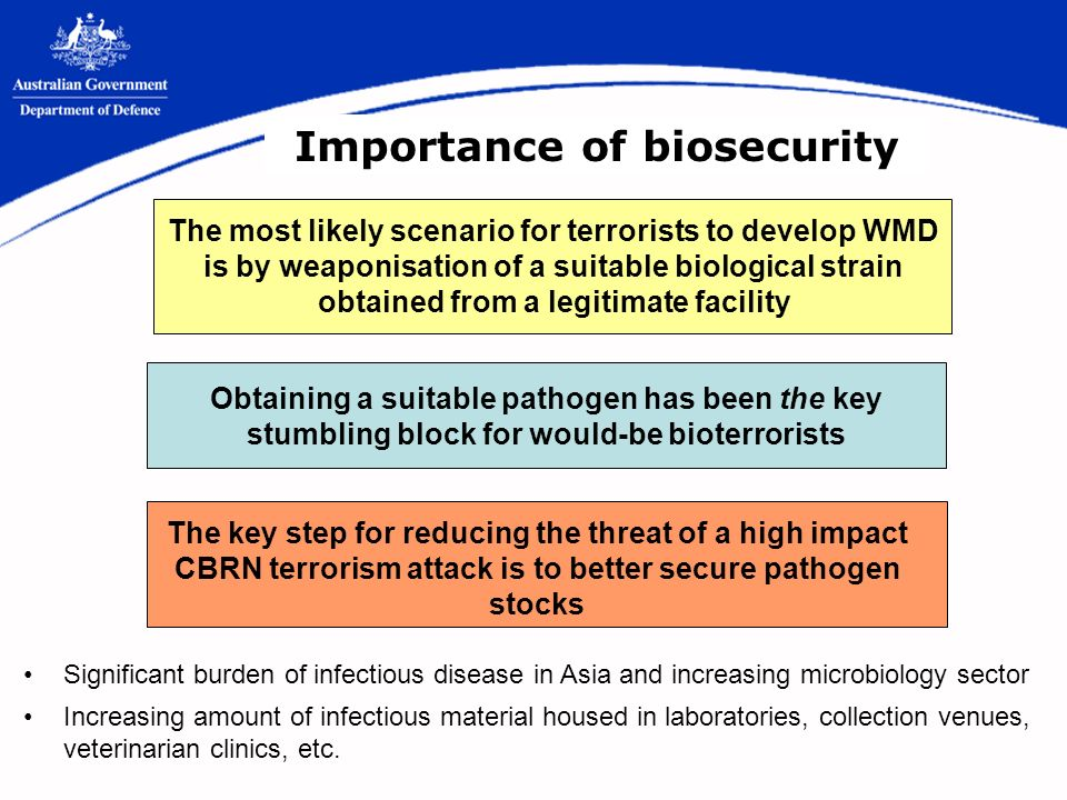Importance of biosecurity Obtaining a suitable pathogen has been the key stumbling block for would-be bioterrorists The most likely scenario for terrorists to develop WMD is by weaponisation of a suitable biological strain obtained from a legitimate facility The key step for reducing the threat of a high impact CBRN terrorism attack is to better secure pathogen stocks Significant burden of infectious disease in Asia and increasing microbiology sector Increasing amount of infectious material housed in laboratories, collection venues, veterinarian clinics, etc.
