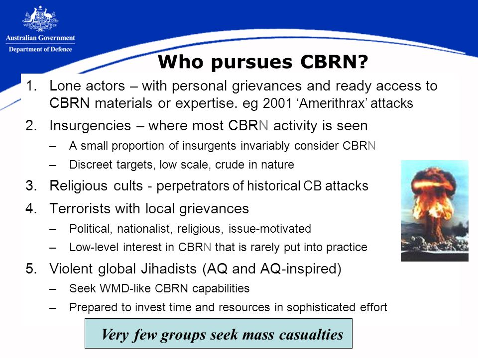 Who pursues CBRN.