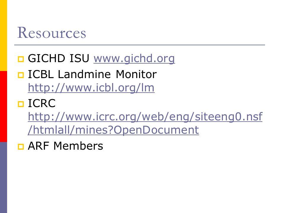 Resources GICHD ISU www.gichd.orgwww.gichd.org ICBL Landmine Monitor http://www.icbl.org/lm http://www.icbl.org/lm ICRC http://www.icrc.org/web/eng/siteeng0.nsf /htmlall/mines OpenDocument http://www.icrc.org/web/eng/siteeng0.nsf /htmlall/mines OpenDocument ARF Members