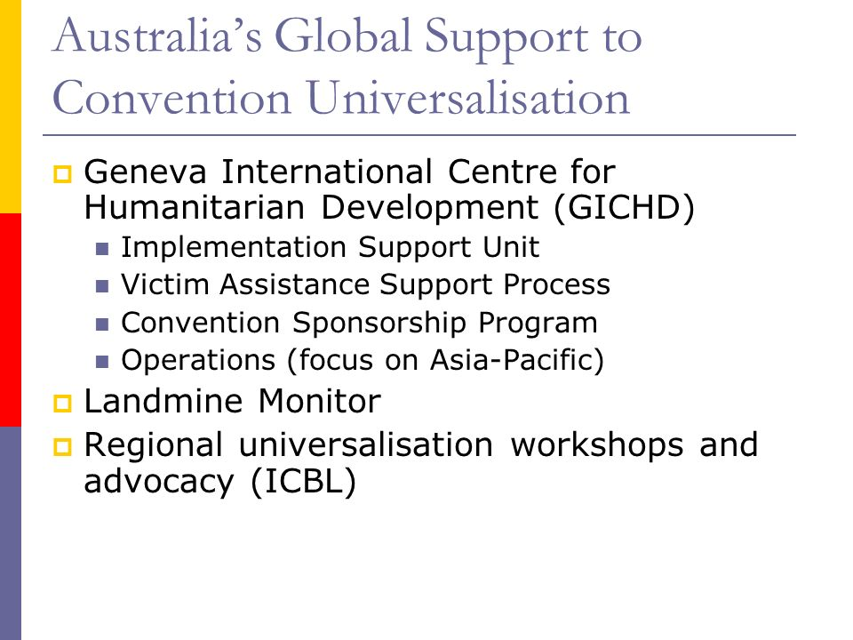 Australias Global Support to Convention Universalisation Geneva International Centre for Humanitarian Development (GICHD) Implementation Support Unit Victim Assistance Support Process Convention Sponsorship Program Operations (focus on Asia-Pacific) Landmine Monitor Regional universalisation workshops and advocacy (ICBL)