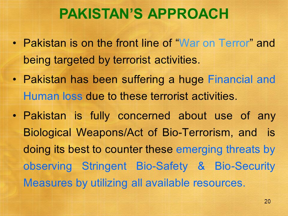 20 PAKISTANS APPROACH Pakistan is on the front line of War on Terror and being targeted by terrorist activities. Pakistan has been suffering a huge Fi