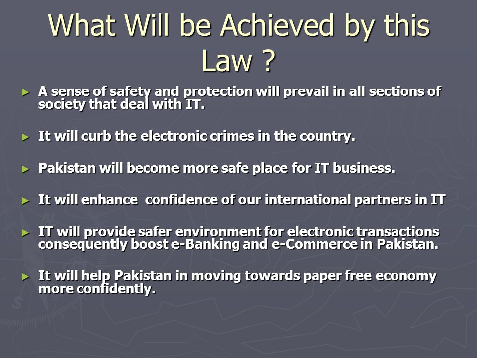 What Will be Achieved by this Law .