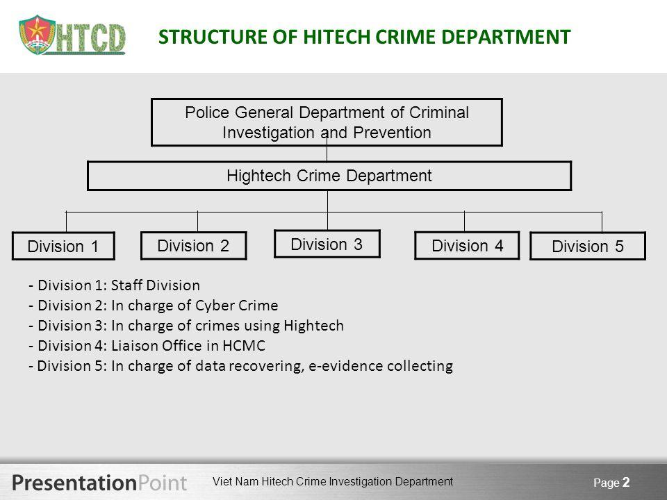Viet Nam Hitech Crime Investigation Department Page 2 STRUCTURE OF HITECH CRIME DEPARTMENT Hightech Crime Department Police General Department of Crim