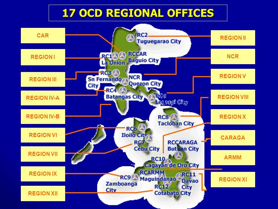 17 OCD REGIONAL OFFICES REGION III REGION I REGION VII CAR REGION IV-A REGION IV-B REGION VI REGION IX REGION XII REGION II NCR REGION V REGION VIII R