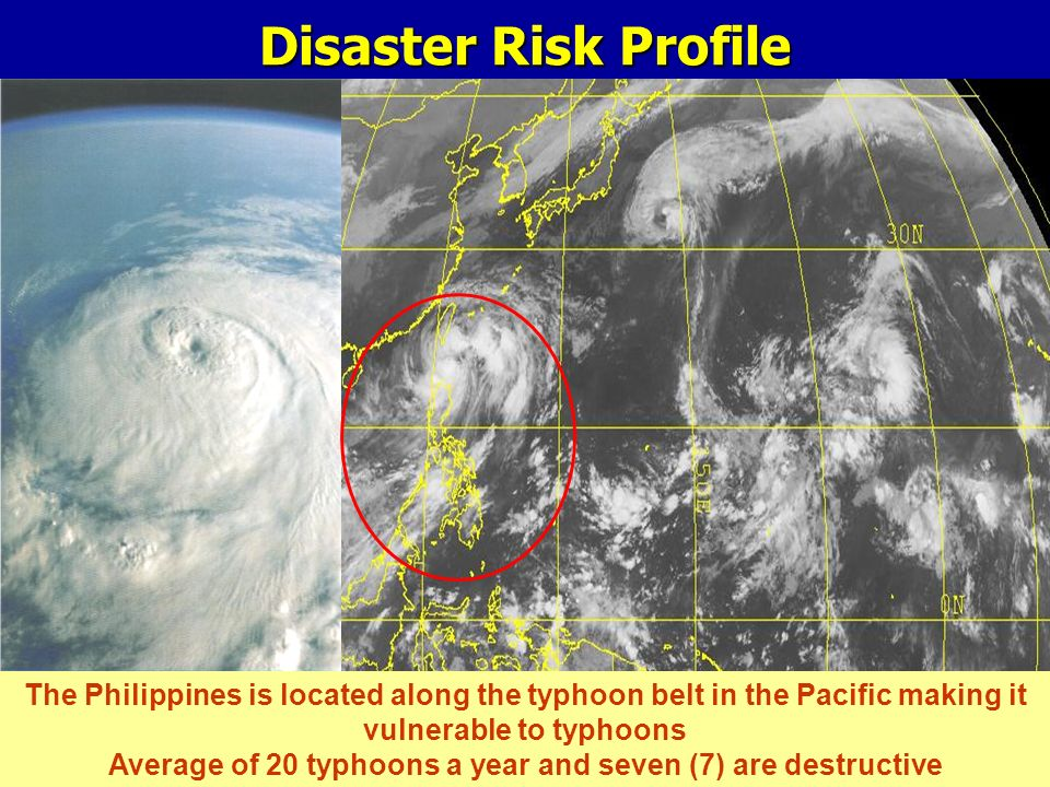 Disaster Risk Profile The Philippines is located along the typhoon belt in the Pacific making it vulnerable to typhoons Average of 20 typhoons a year