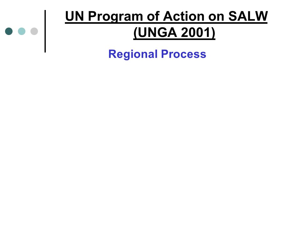 UN Program of Action on SALW (UNGA 2001) Regional Process