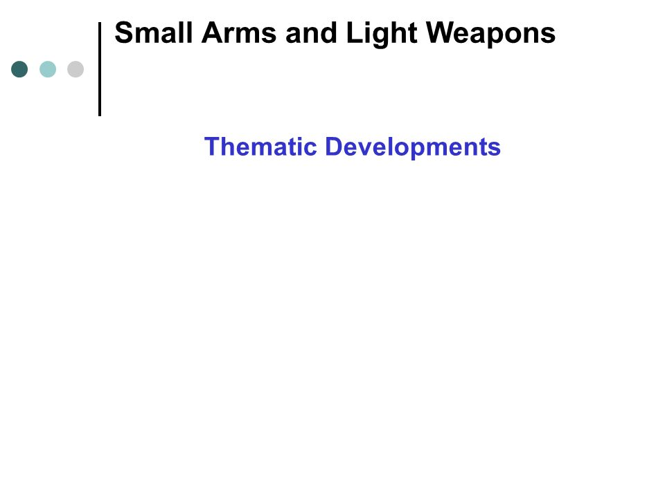Small Arms and Light Weapons Thematic Developments