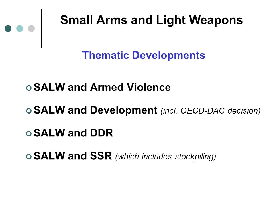 Small Arms and Light Weapons Thematic Developments SALW and Armed Violence SALW and Development (incl.