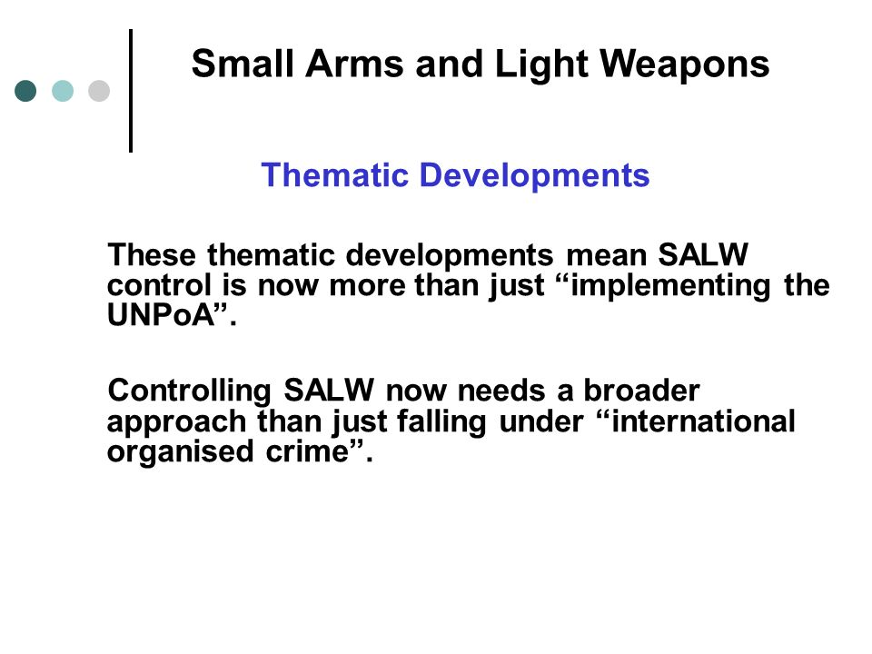 Small Arms and Light Weapons Thematic Developments These thematic developments mean SALW control is now more than just implementing the UNPoA.