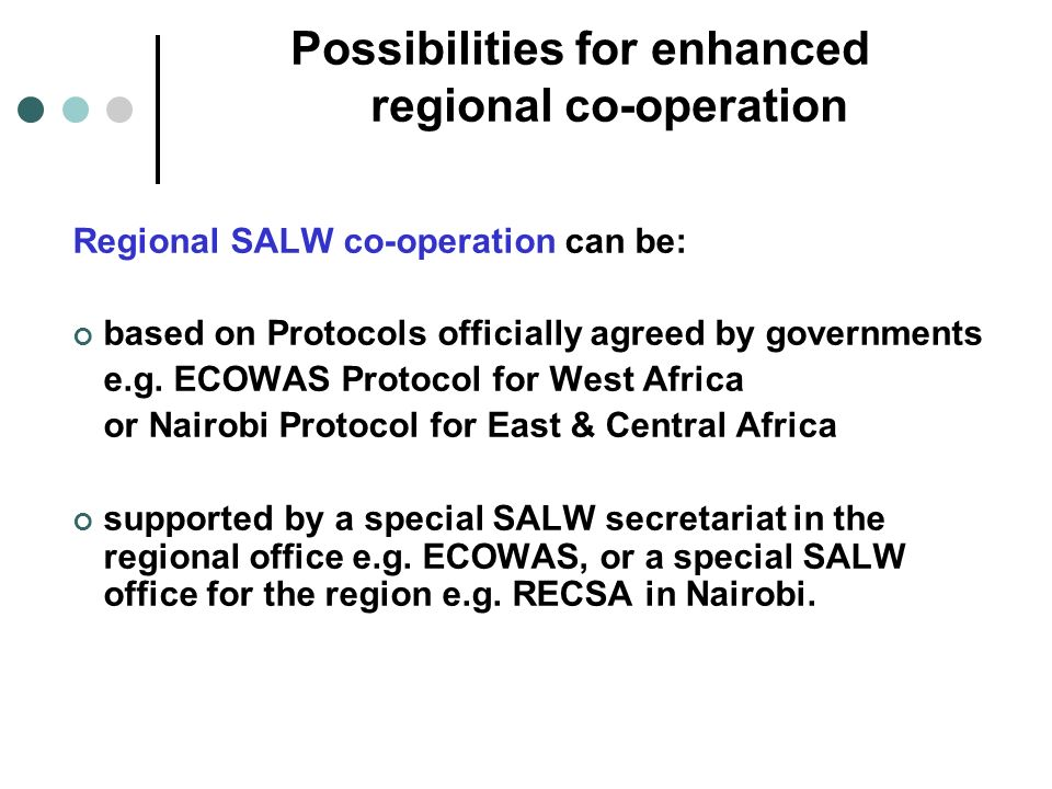 Possibilities for enhanced regional co-operation Regional SALW co-operation can be: based on Protocols officially agreed by governments e.g.