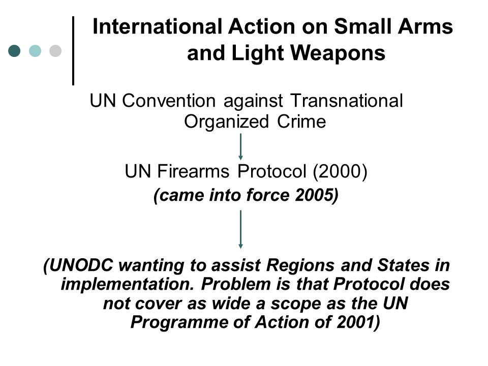 International Action on Small Arms and Light Weapons UN Convention against Transnational Organized Crime UN Firearms Protocol (2000) (came into force 2005) (UNODC wanting to assist Regions and States in implementation.
