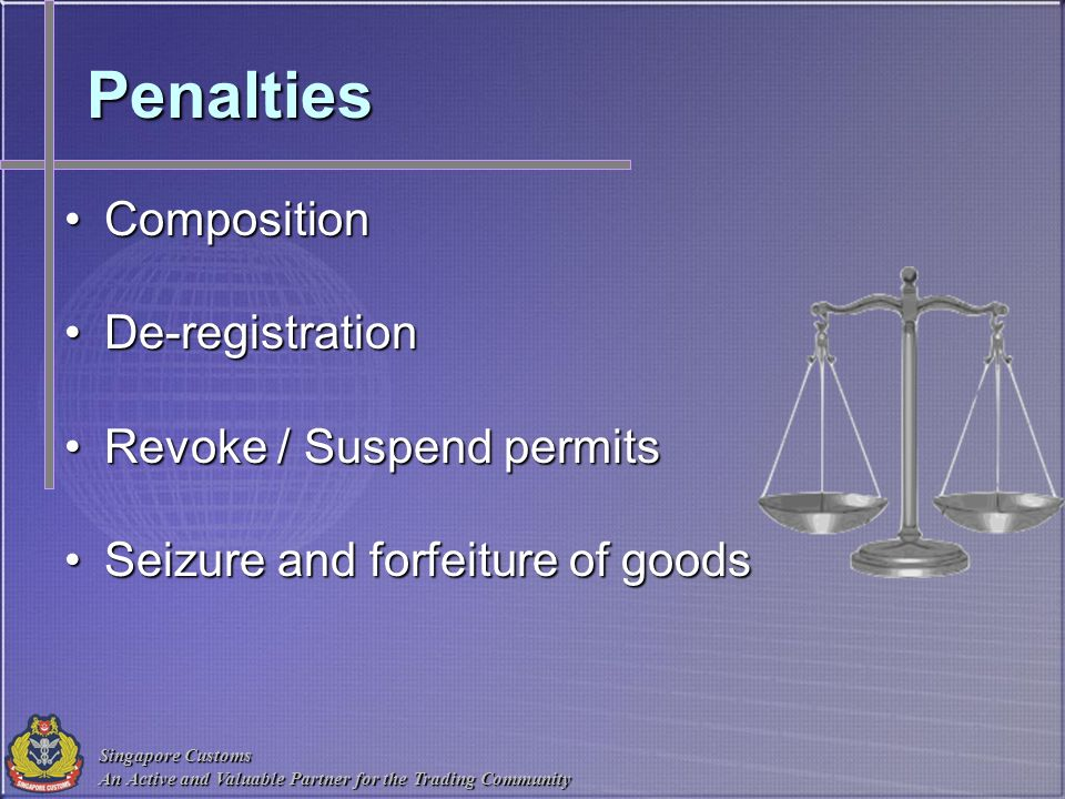 Singapore Customs An Active and Valuable Partner for the Trading Community Penalties CompositionComposition De-registrationDe-registration Revoke / Su