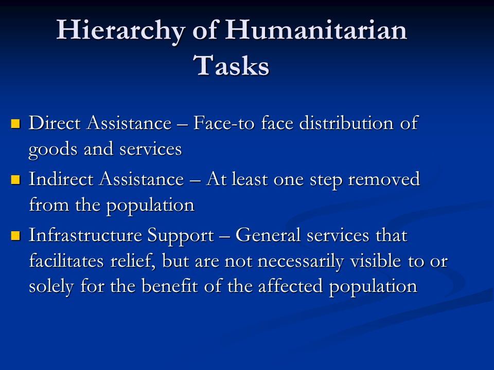 Direct Assistance – Face-to face distribution of goods and services Direct Assistance – Face-to face distribution of goods and services Indirect Assis