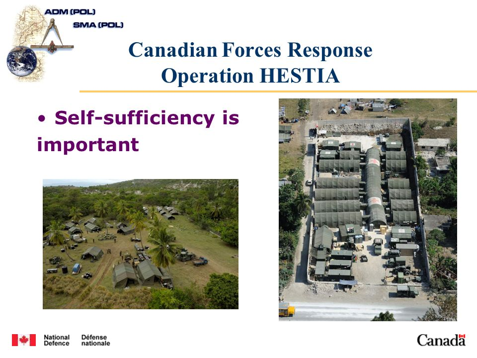 Canadian Forces Response Operation HESTIA Self-sufficiency is important