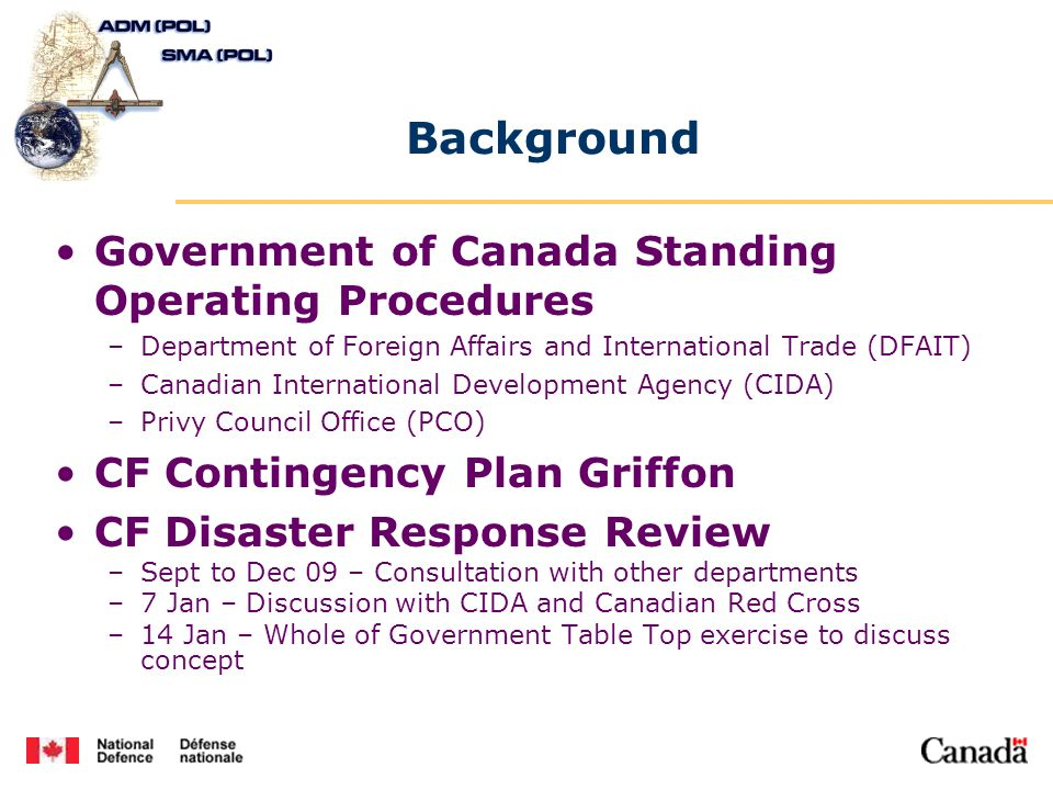 Background Government of Canada Standing Operating Procedures –Department of Foreign Affairs and International Trade (DFAIT) –Canadian International D