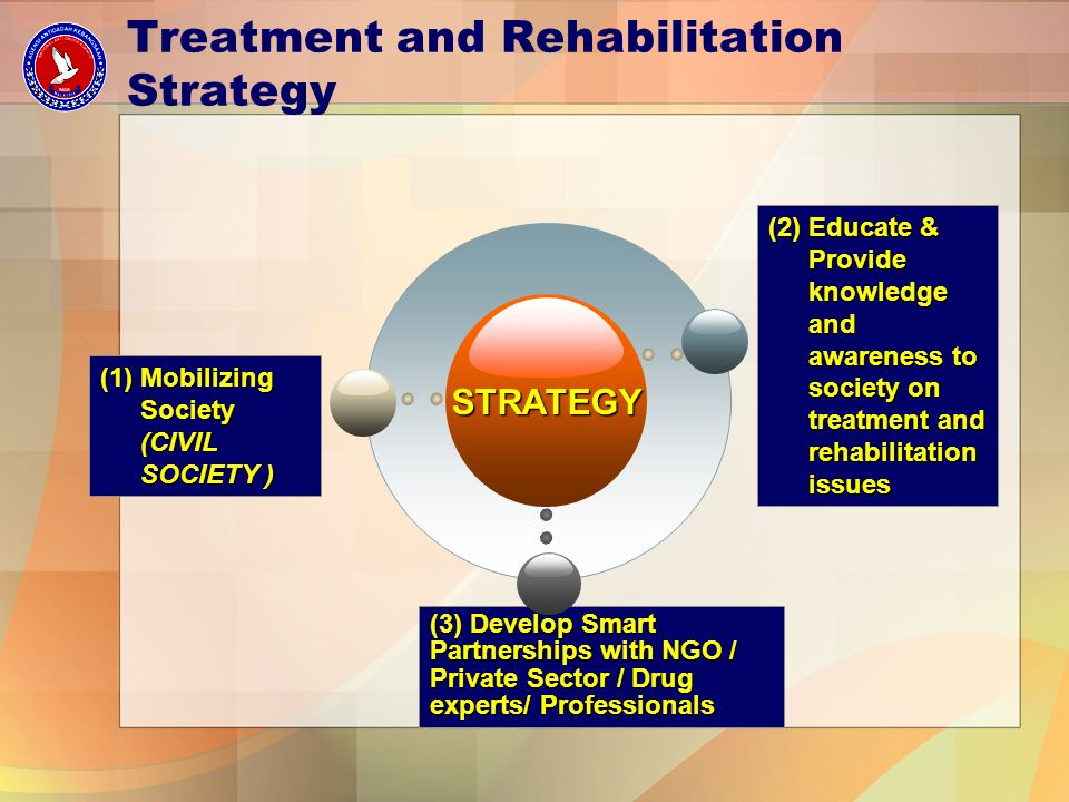 (1) Mobilizing Society (CIVIL SOCIETY ) STRATEGY (3) Develop Smart Partnerships with NGO / Private Sector / Drug experts/ Professionals (2) Educate & Provide knowledge and awareness to society on treatment and rehabilitation issues Treatment and Rehabilitation Strategy