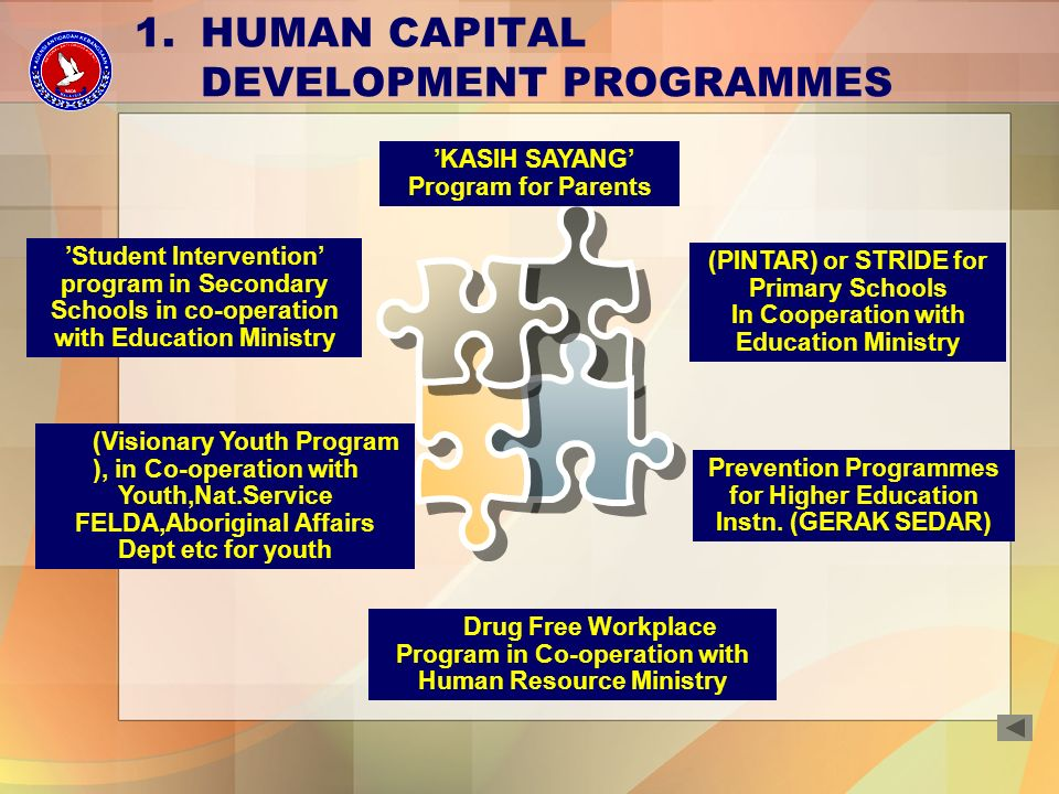 KASIH SAYANG Program for Parents (PINTAR) or STRIDE for Primary Schools In Cooperation with Education Ministry Student Intervention program in Secondary Schools in co-operation with Education Ministry 1.HUMAN CAPITAL DEVELOPMENT PROGRAMMES Prevention Programmes for Higher Education Instn.