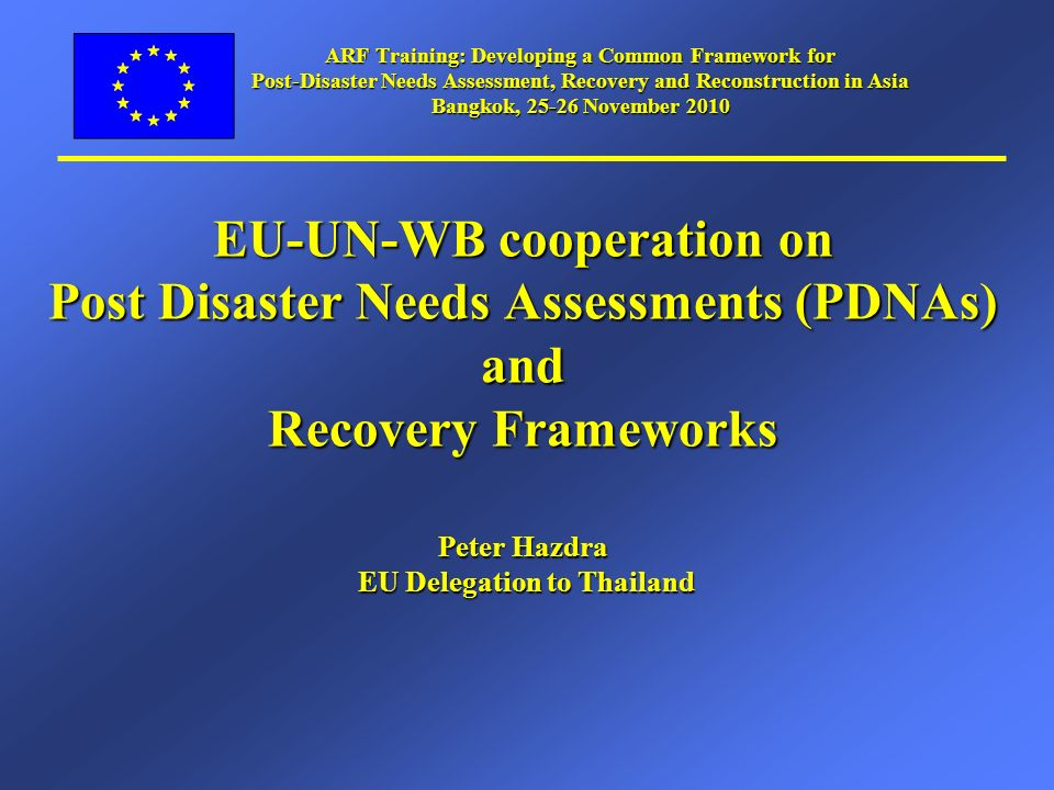 Post Disaster Needs Assessments Background 1.What is a PDNA.