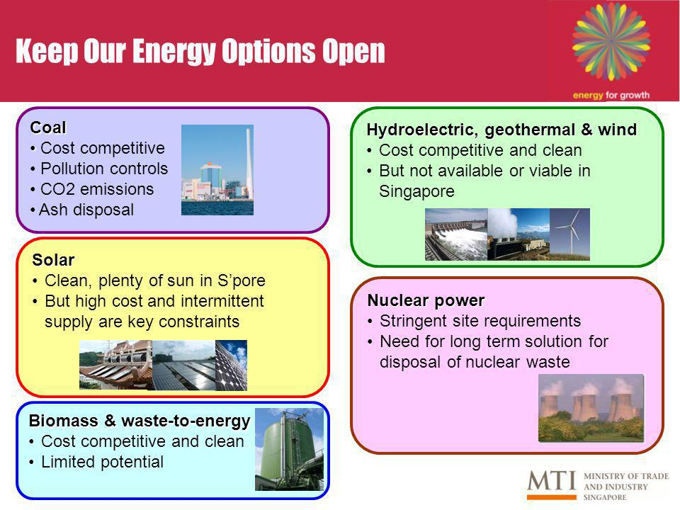 Keep Our Energy Options OpenCoal Cost competitive Pollution controls CO2 emissions Ash disposal Hydroelectric, geothermal & wind Cost competitive and clean But not available or viable in Singapore Solar Clean, plenty of sun in Spore But high cost and intermittent supply are key constraints Biomass & waste-to-energy Cost competitive and clean Limited potential Nuclear power Stringent site requirements Need for long term solution for disposal of nuclear waste