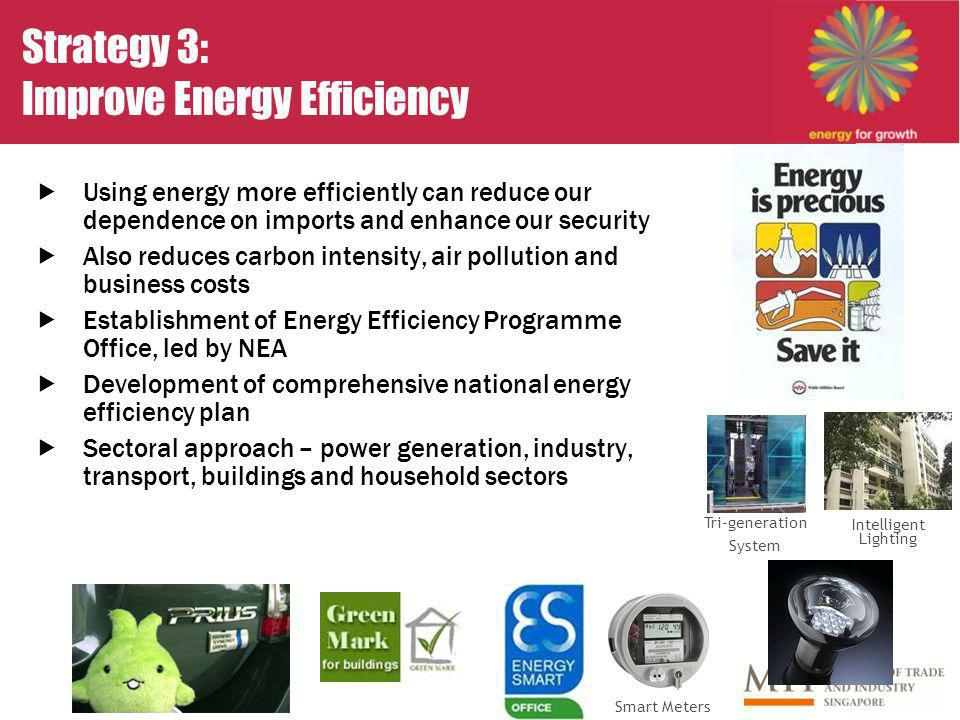 Strategy 3: Improve Energy Efficiency Using energy more efficiently can reduce our dependence on imports and enhance our security Also reduces carbon intensity, air pollution and business costs Establishment of Energy Efficiency Programme Office, led by NEA Development of comprehensive national energy efficiency plan Sectoral approach – power generation, industry, transport, buildings and household sectors Intelligent Lighting Tri-generation System Smart Meters