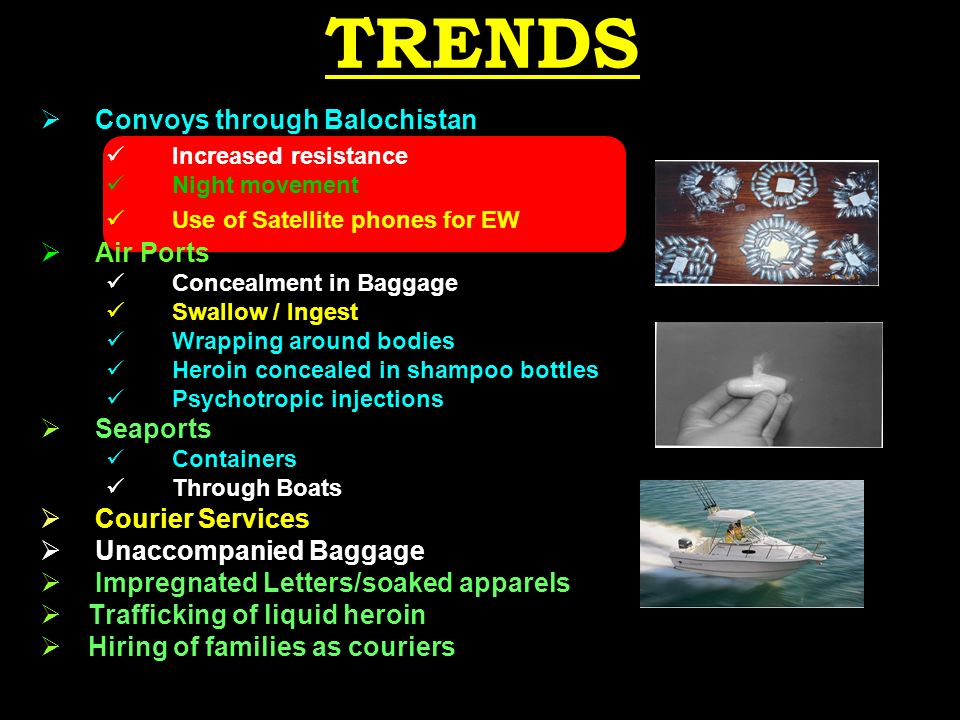 TRENDS Convoys through Balochistan Increased resistance Night movement Use of Satellite phones for EW Air Ports Concealment in Baggage Swallow / Ingest Wrapping around bodies Heroin concealed in shampoo bottles Psychotropic injections Seaports Containers Through Boats Courier Services Unaccompanied Baggage Impregnated Letters/soaked apparels Trafficking of liquid heroin Hiring of families as couriers