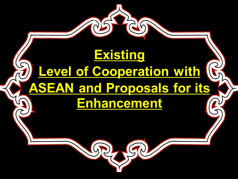 Sequence of Presentation Level of Drug Trafficking between Pakistan and ASEAN Details of Pakistani and ASEAN Nationals arrested on drug charges State of ongoing cooperation between Pakistan and ASEAN on drugs Control Position on Signing of MOUs /Agreements Achievement of Pakistan in War Against Drugs Proposal for enhancing cooperation with ASEAN Countries