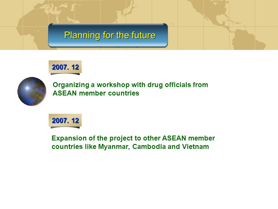 Planning for the future 2007. 12 Organizing a workshop with drug officials from ASEAN member countries Expansion of the project to other ASEAN member