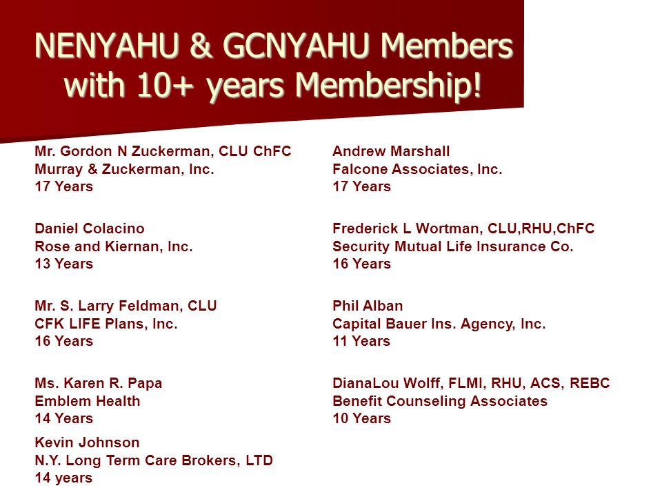NENYAHU & GCNYAHU Members with 10+ years Membership.