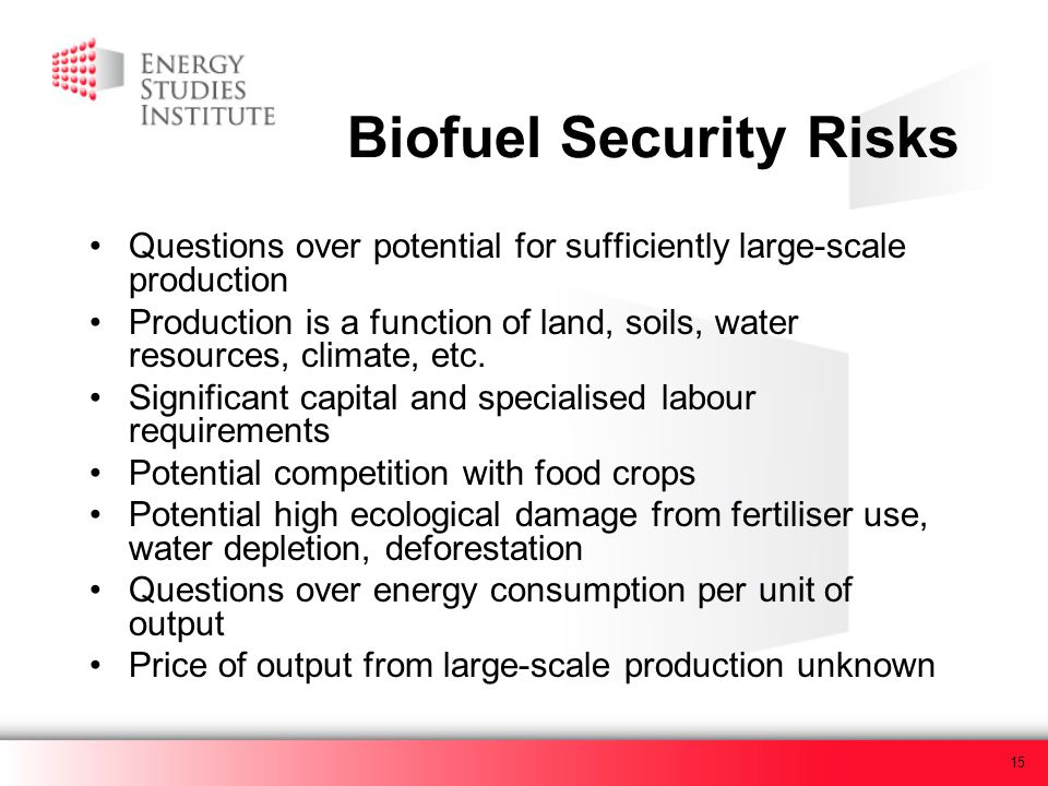 15 Biofuel Security Risks Questions over potential for sufficiently large-scale production Production is a function of land, soils, water resources, c