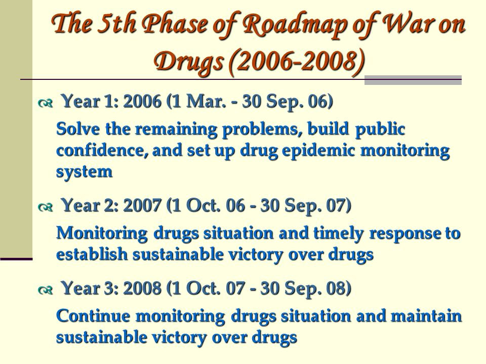 The 5th Phase of Roadmap of War on Drugs ( ) Year 1: 2006 (1 Mar.